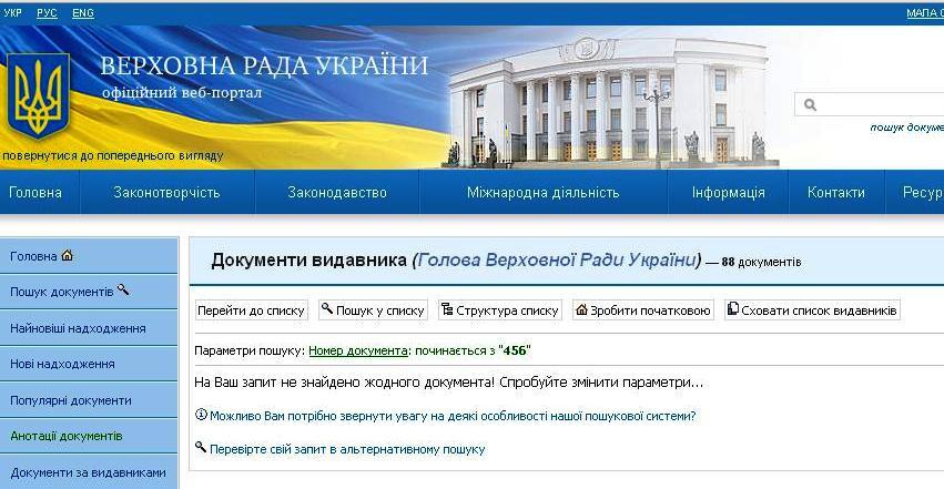 розпорядження голови ВРУ Володимира Рибака №456