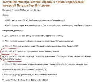Біографія Петухова на сайті Мінюсту