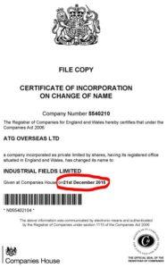 Industrial Fields Limited - atg overseas ltd