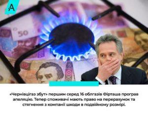 «Чернівцігаз збут» першим з групи Фірташа підставився під відшкодування шкоди за завищену ціну газу для споживачів