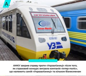 АМКУ закрив справу проти «Укрзалізниці» після того яка вона віддала власній фірмі монополію на страхування пасажирів