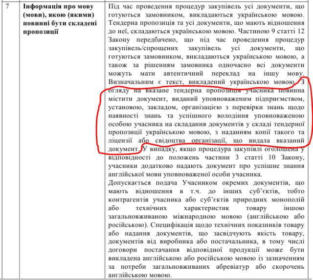 Інтернат вимагає від постачальників риби документ про володіння державною мовою